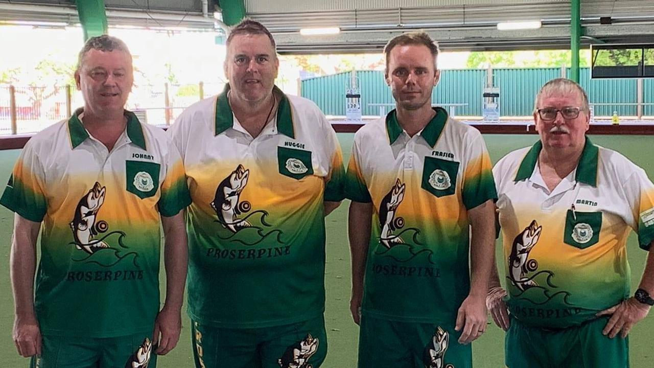 Proserpine bowlers Jonathan Bye, Wayne Handley, Nathan Harriott and Martin Corr contested the Men's Champions of Champions at Souths Suburban Bowls Club at the weekend. Photo: Contributed