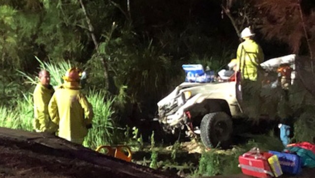 Emergency services on the scene after Sunday night's accident in which Nathan Kleidon was injured. Picture: RACQ Capricorn Rescue