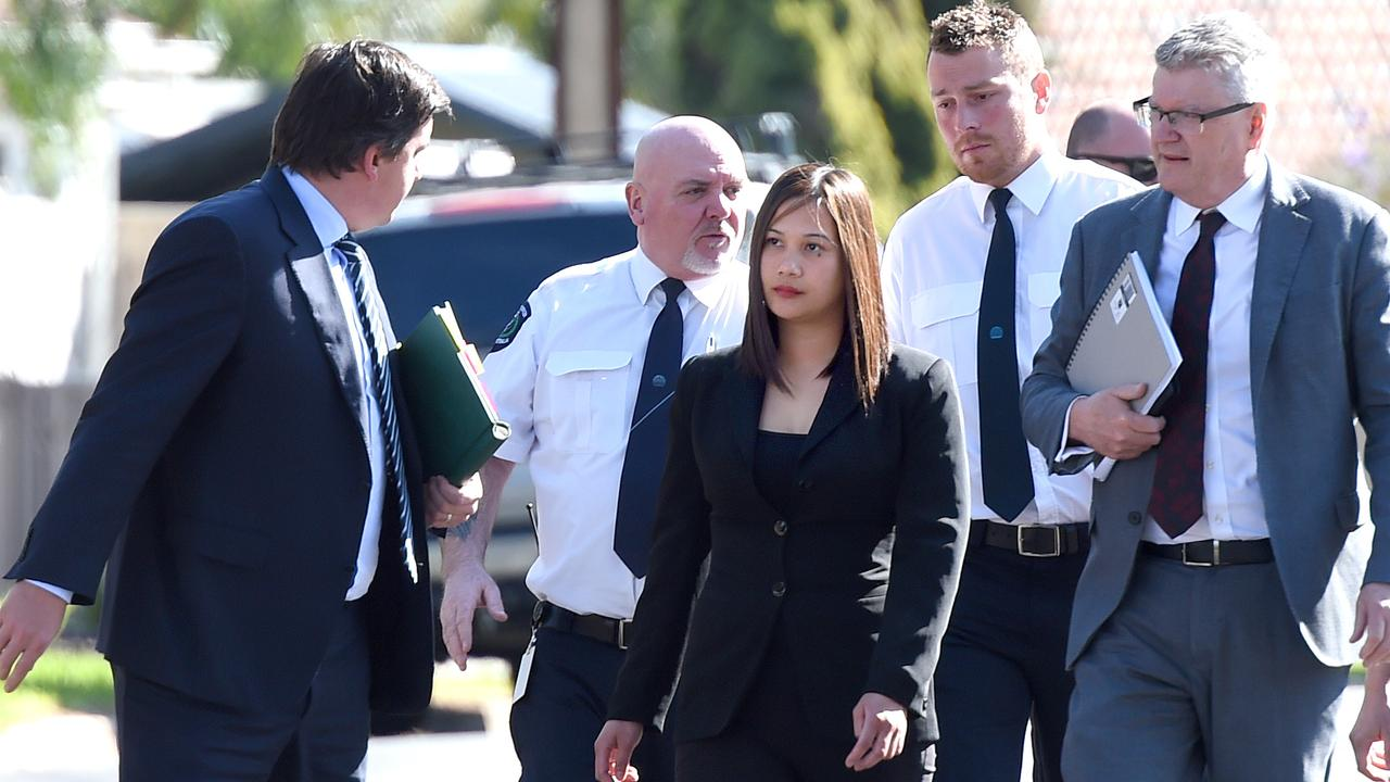 Lawyers for Caroline Dela Rose Nilsson (middle, wearing black) say she could make a bail application as early as next week. Picture: NCA NewsWire/Naomi Jellicoe
