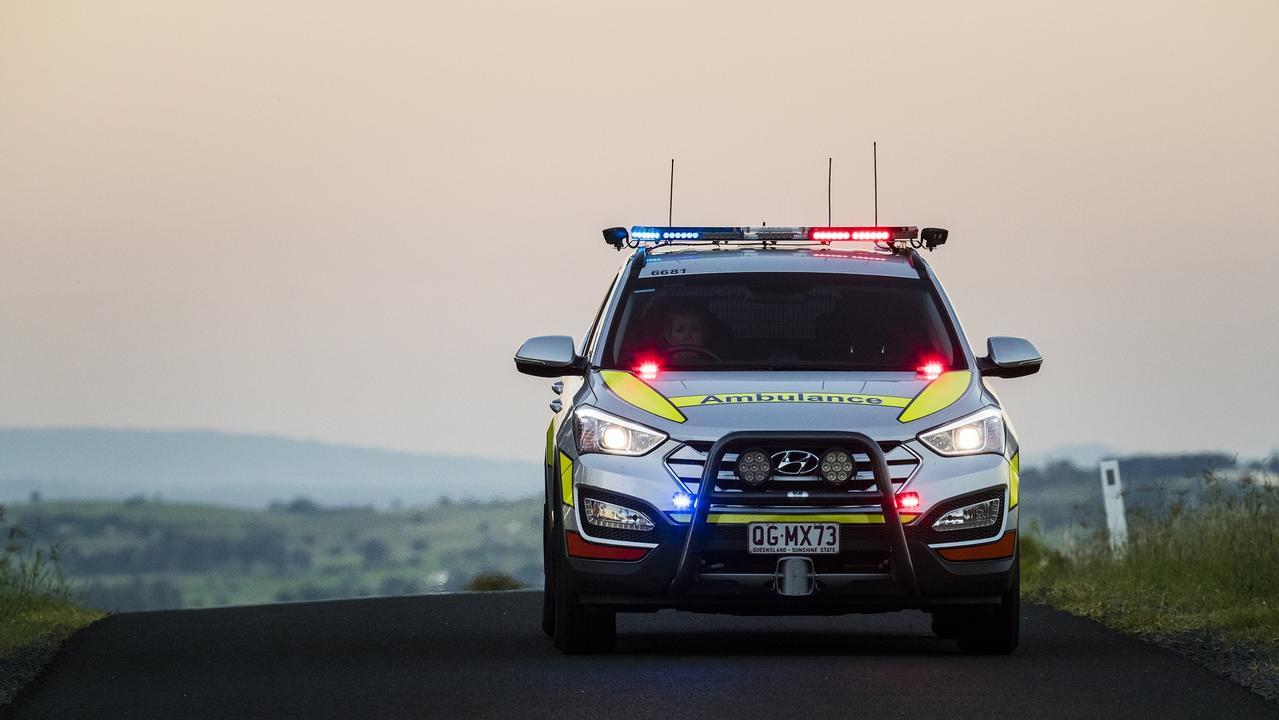 QAS paramedics are on scene following a single-vehicle crash at Wyalla. File Photo.