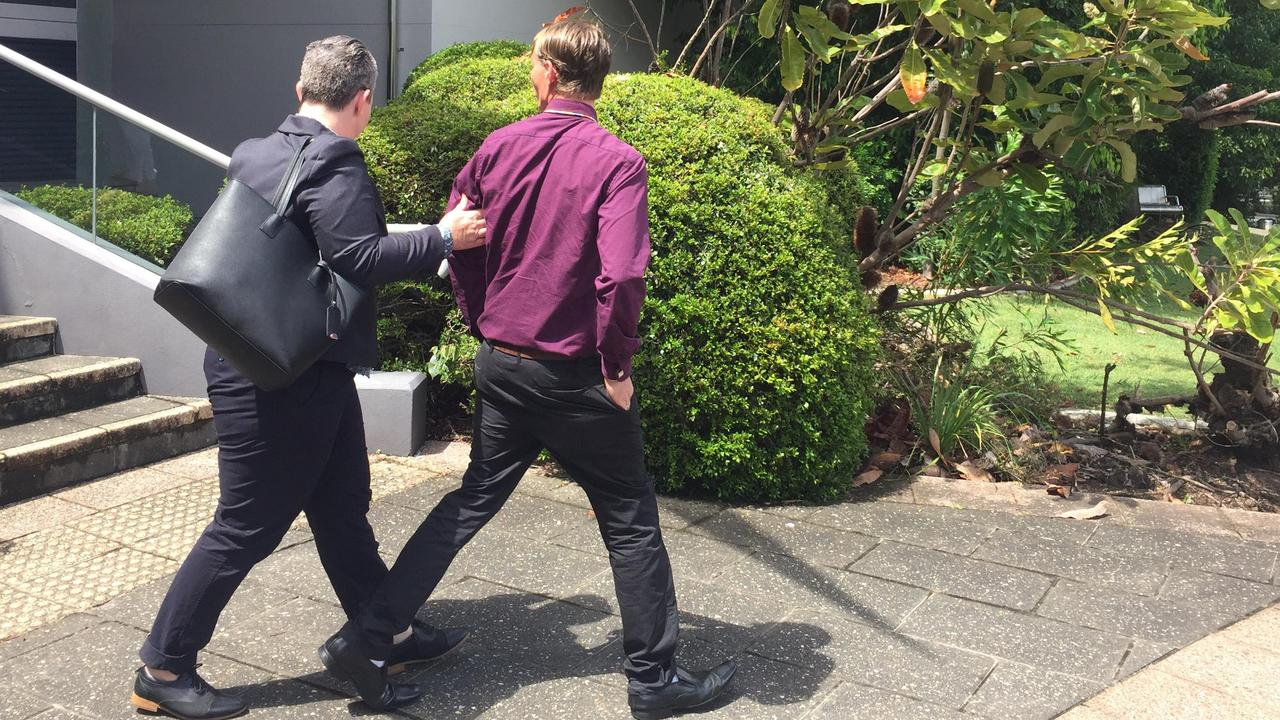 Leighton James Sherwood (in maroon shirt) leaves Caloundra Magistrates Court flanked by lawyer Rowena Ferrall on Wednesday after being sentenced for masturbating outside a stranger's window. Picture: Laura Pettigrew
