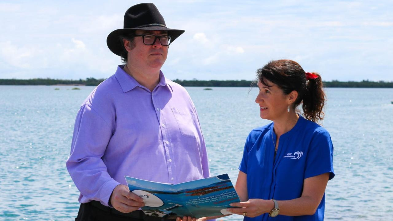 Dawson MP George Christensen with Reef Catchments chief executive Katrina Dent. Picture: supplied