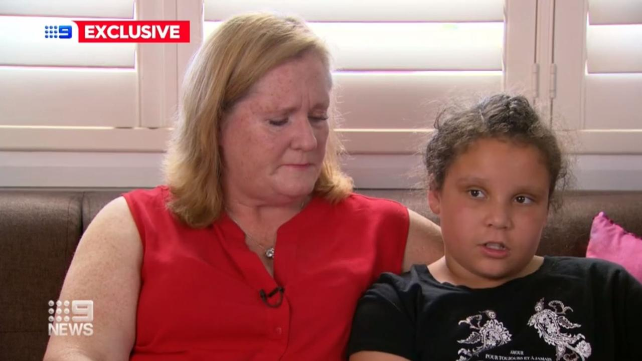 "The young girl (pictured with mum Megan) says she just wants ""a normal family"" but is unable to get the help she desperately needs. Picture: Nine News"