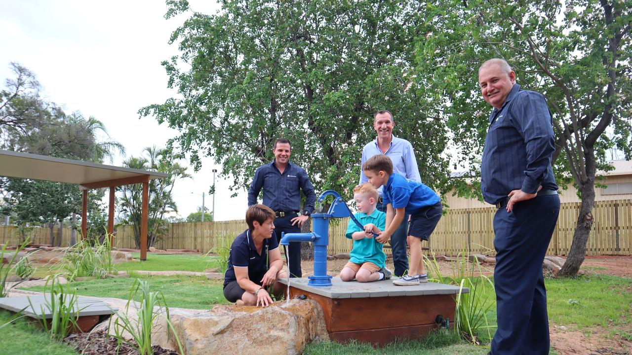 Left to right: Amanda Stephan from Simply Sunshine Childcare, Anglo American's Matt Norris, Tyler Mitchelson, Paul Stephan with children Tommy Grange and Sam Wakerley with the new kindergarten playground. Picture: Contributed