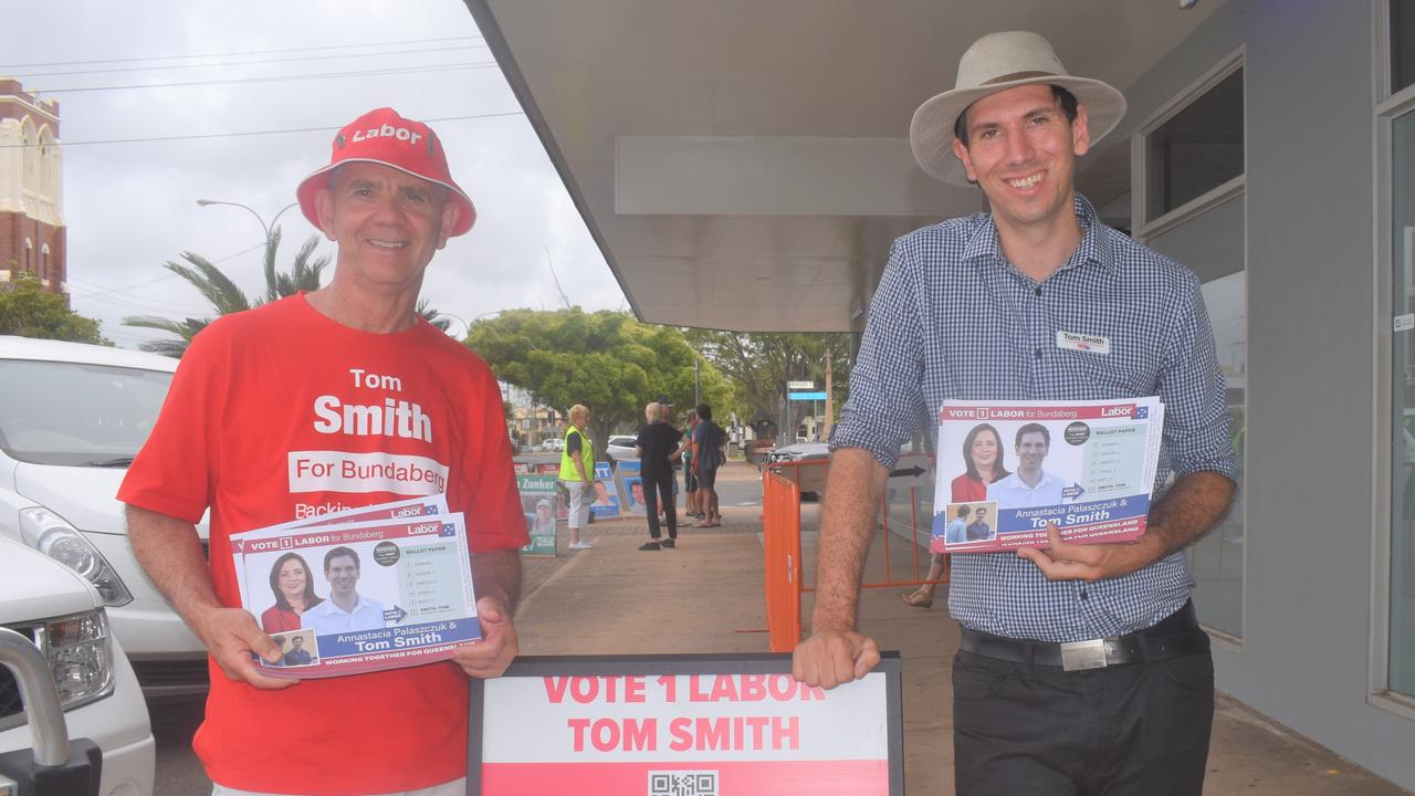Mike Smith supports son Tom's election campaign for Labor.