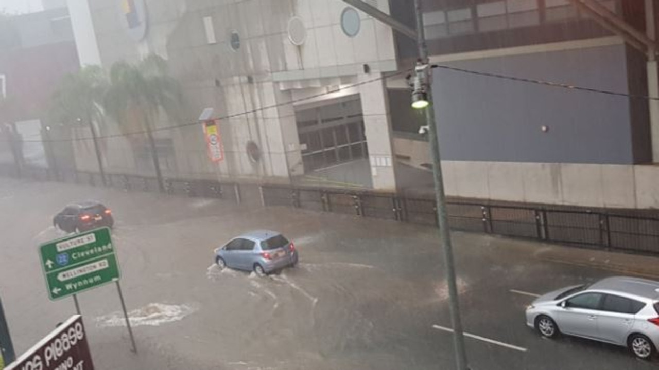 Vulture Street in Woolloongabba was flooded Tuesday afternoon. Picture: 10 News