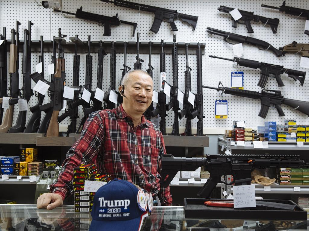 Jeff Wong, the owner of Jeff's Guns and Ammo at his shop in Franklin, North Carolina. Picture: Angus Mordant