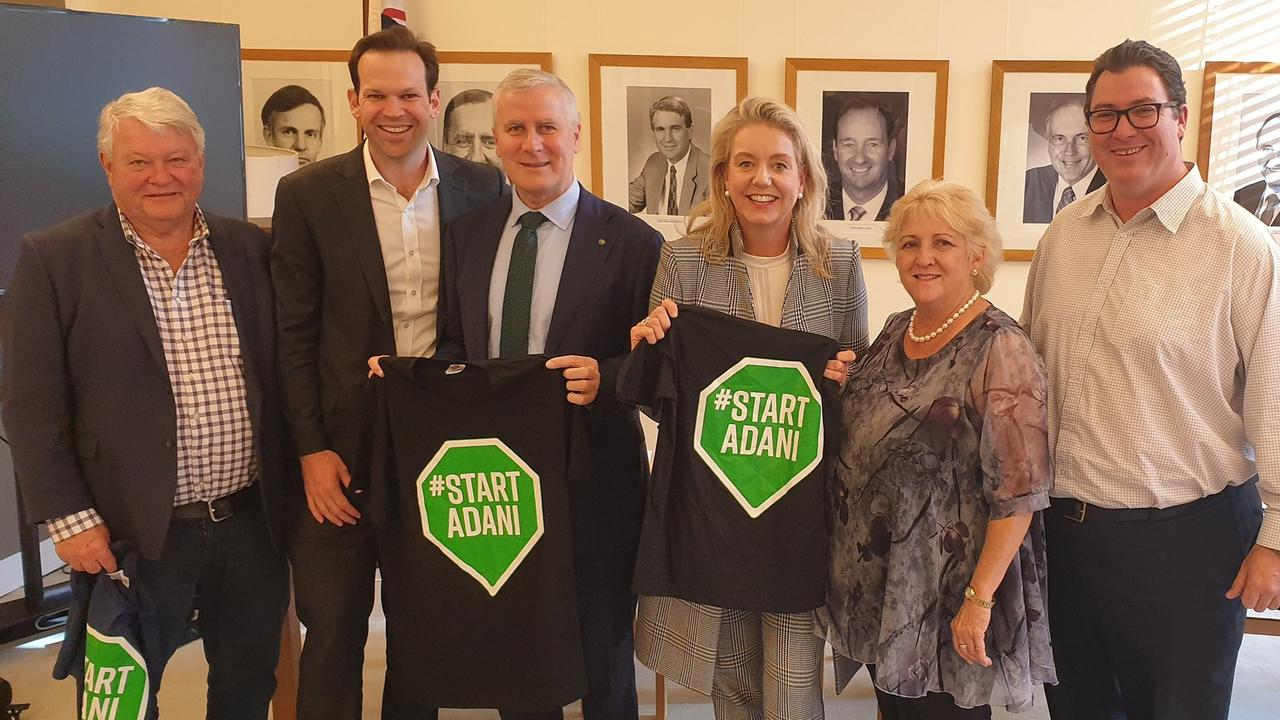 MINING SUPPORT: National Party MPs Flynn's Ken O'Dowd, Senator Matt Canavan, leader Michael McCormack, Deputy Senator Bridget McKenzie, Capricornia's Michelle Landry, Dawson's George Christensen took their pro-Adani message to Canberra in 2019.