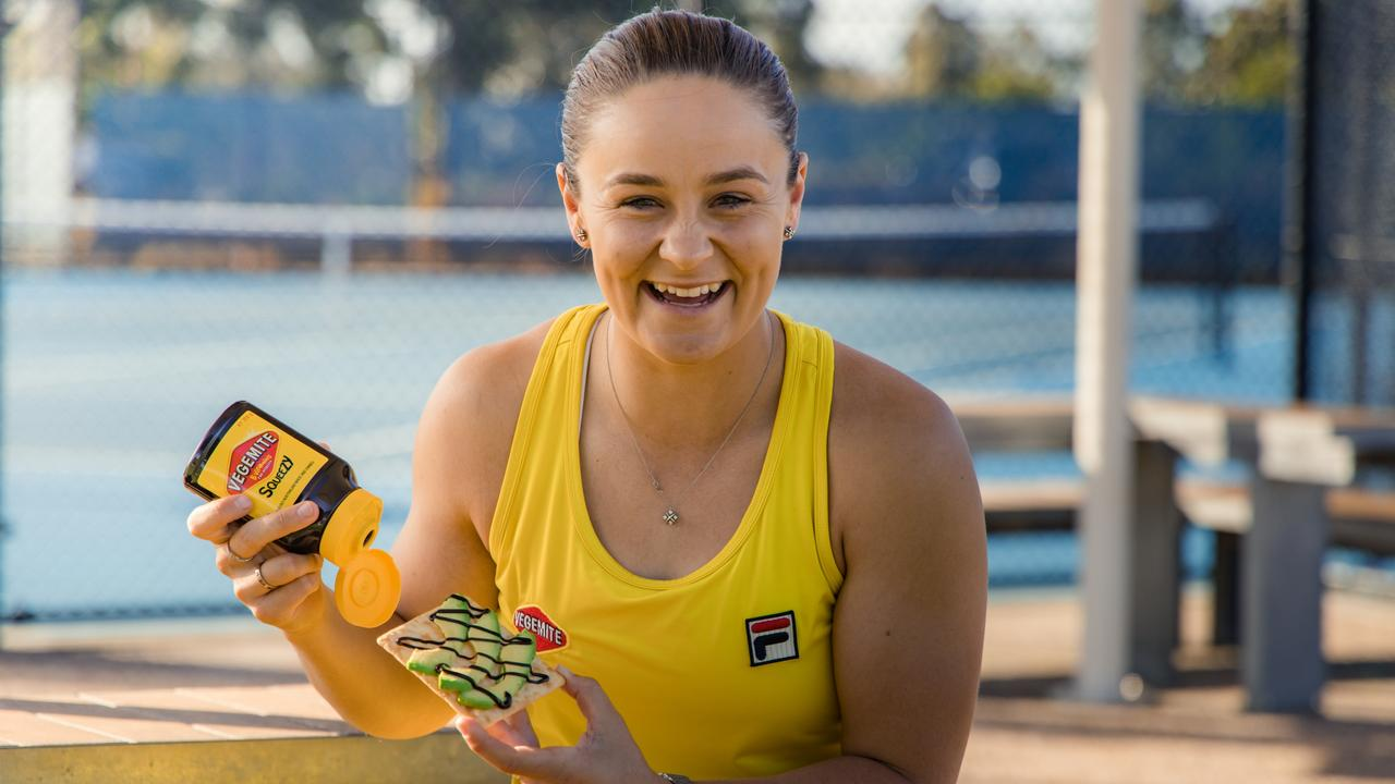 Ash Barty with how she likes to eat Vegemite. Picture: Supplied