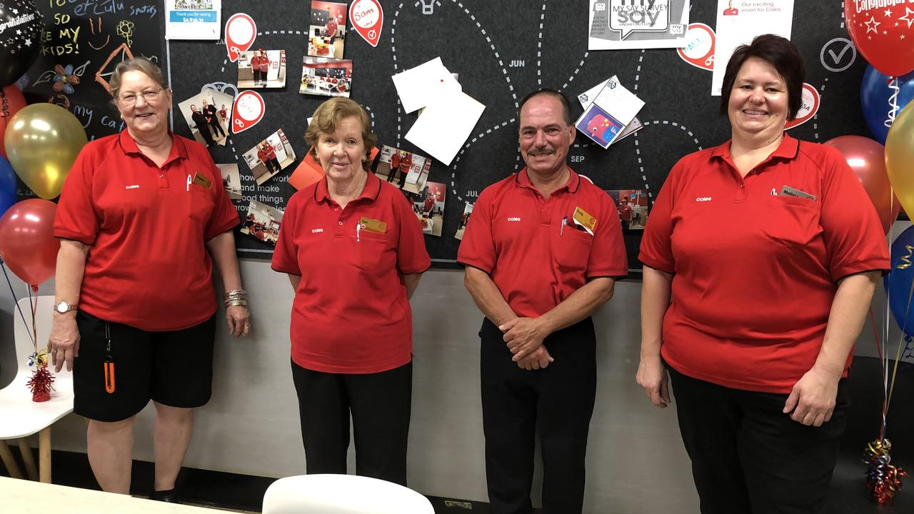 Long serving Coles Employees Claudia Hoare, Sue Hurlock, Craig White, and Melissa Wolski. Picture: Contributed