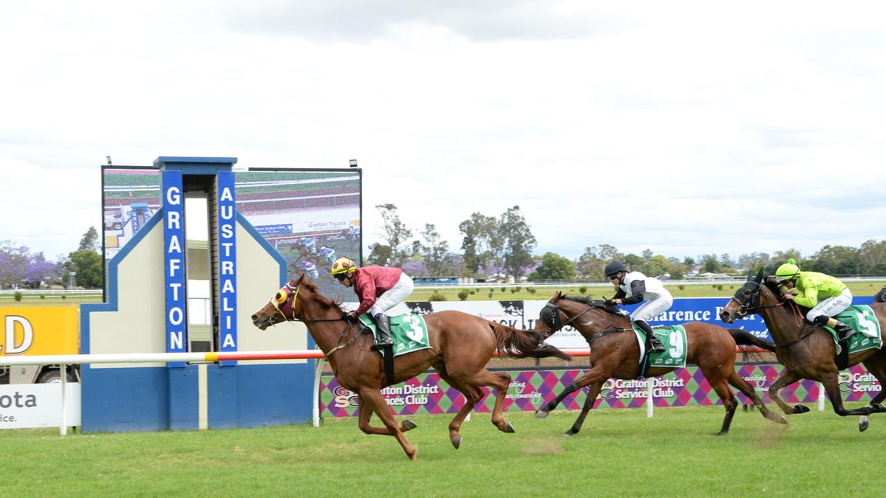 Joanne Hardy's Real Time Warrior wins Race 2 at Clarence River Jockey Club. Photo: Trackside Photography