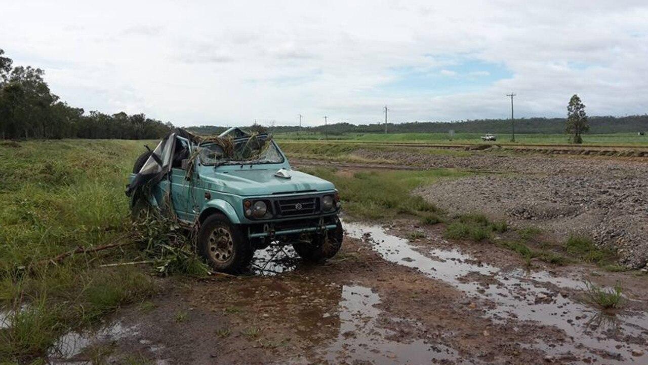 A Suzuki washed of the highway near Rocky Dam Creek in 2017.