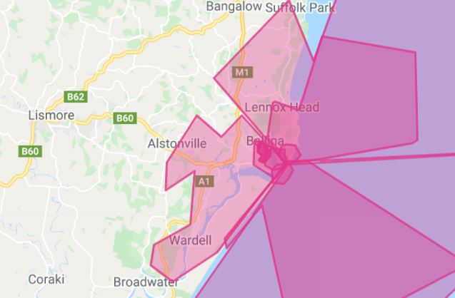 Large parts of the Ballina Shire have no Telstra service.