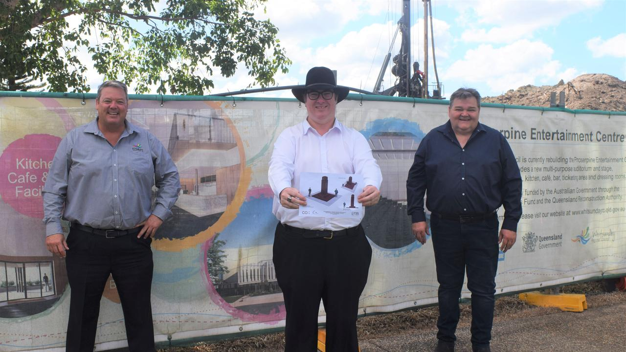 Whitsunday Regional Council mayor Andrew Willcox, Dawson MP George Christensen and Division 3 councillor John Collins at the site of the new Proserpine cenotaph. Picture: Laura Thomas