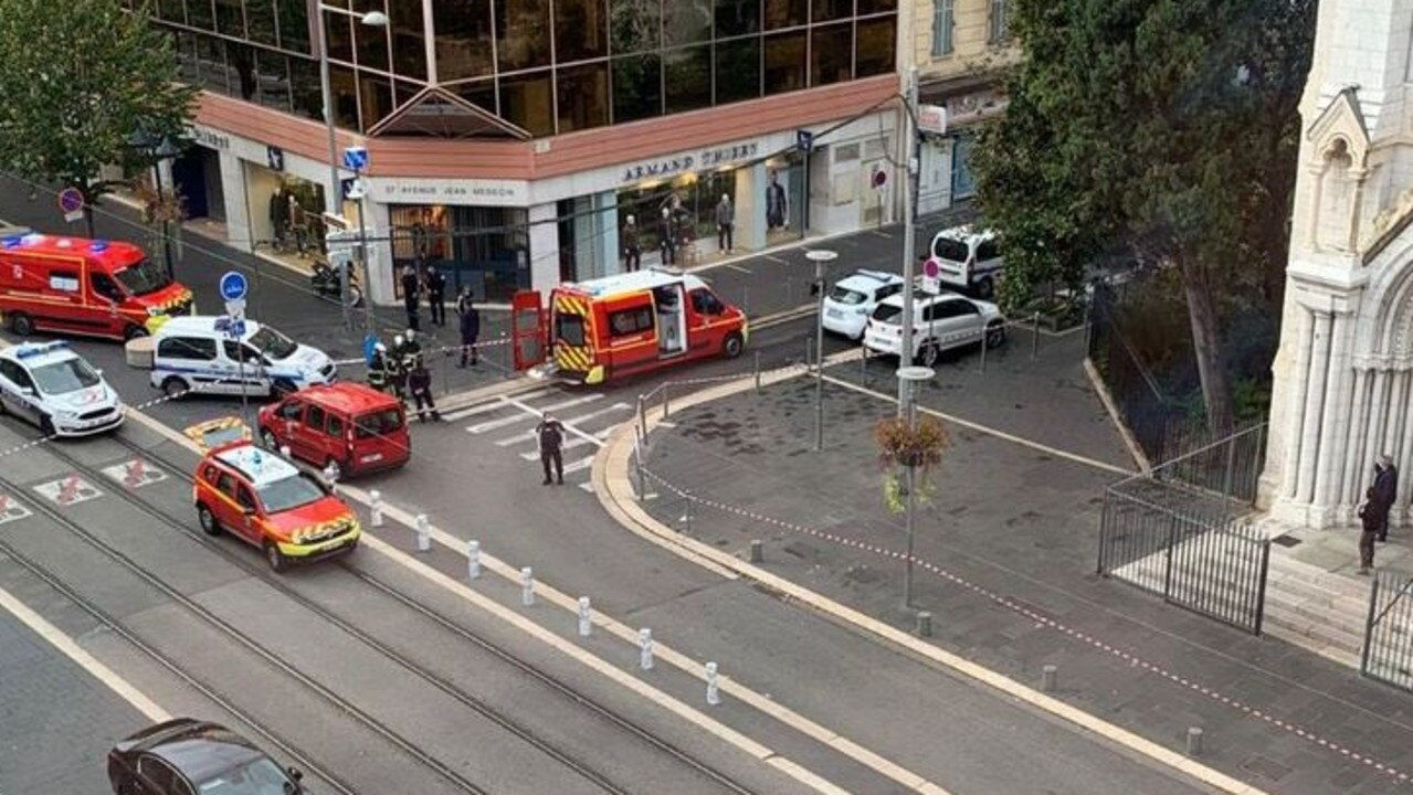 A suspected terror attack has happened at the Notre Dame cathedral in Nice. Picture: Twitter