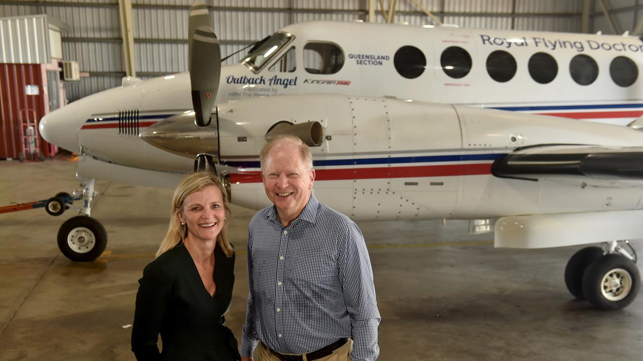 Royal Flying Doctor Service CEO Meridith Staib and chairman Russell Postle at the Townsville Airport. Picture: Evan Morgan