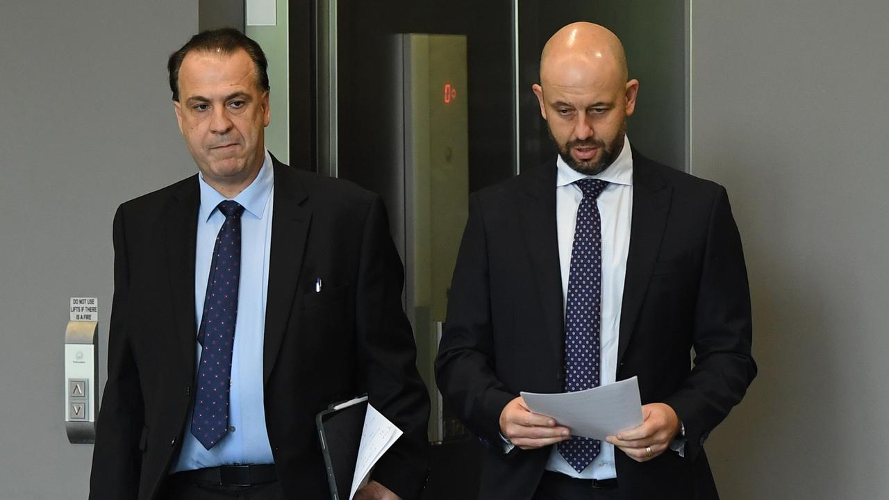 Former NRL CEO Todd Greenberg (right) and ARLC Chairman Peter V'landys. Picture: AAP/Joel Carrett