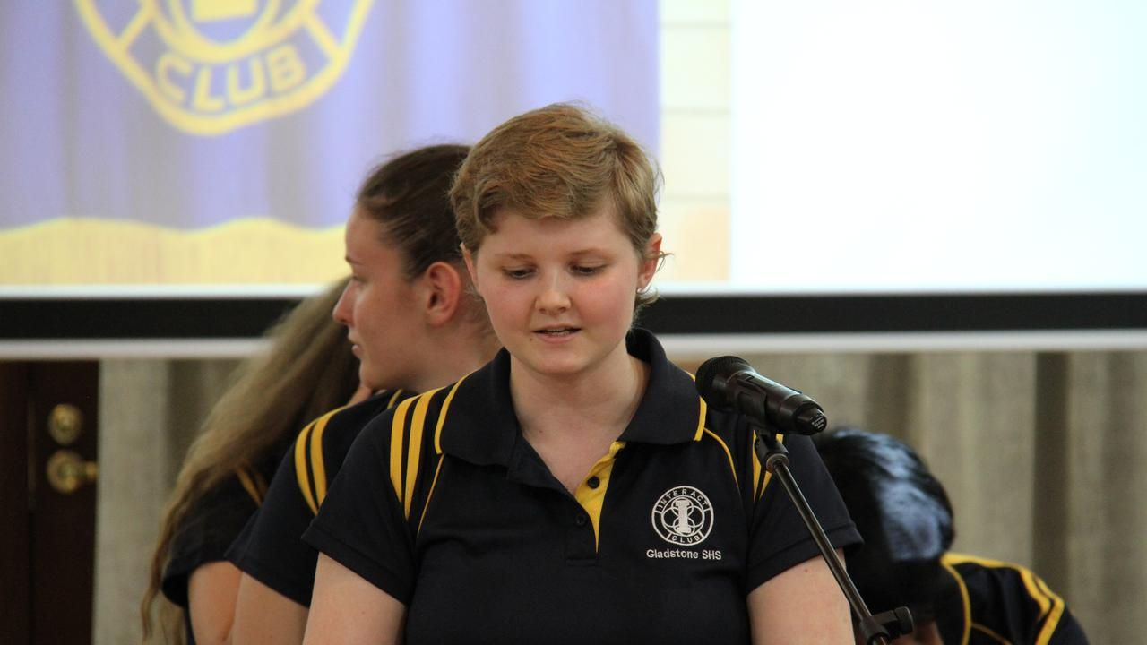 Gladstone State High School Interact President Sierra Knopke addresses the Rotary Club of Port Curtis meeting. Picture: Rodney Stevens