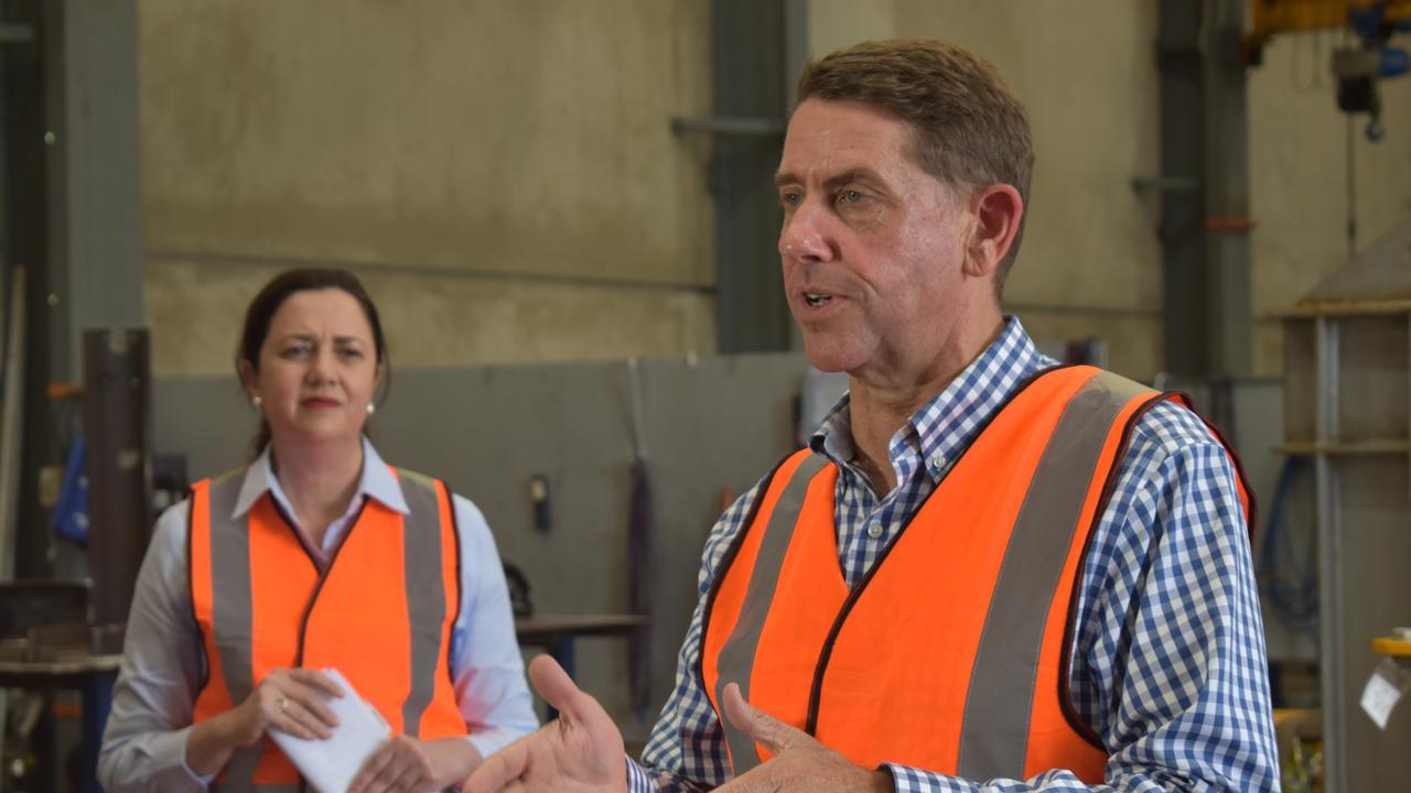 Premier Annastacia Palaszczuk and Treasurer Cameron Dick at the De Goey Contractors worksite at Paget on Tuesday, October 27. Picture: Zizi Averill.