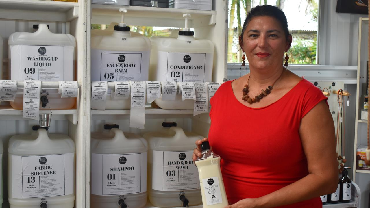 REFILL NOT LANDFILL: With the help of her seven-year-old son Kelly, Beverley Whip has opened a self-serve station with all natural, eco-friendly hair, body and cleaning products. Picture: Rhylea Millar.