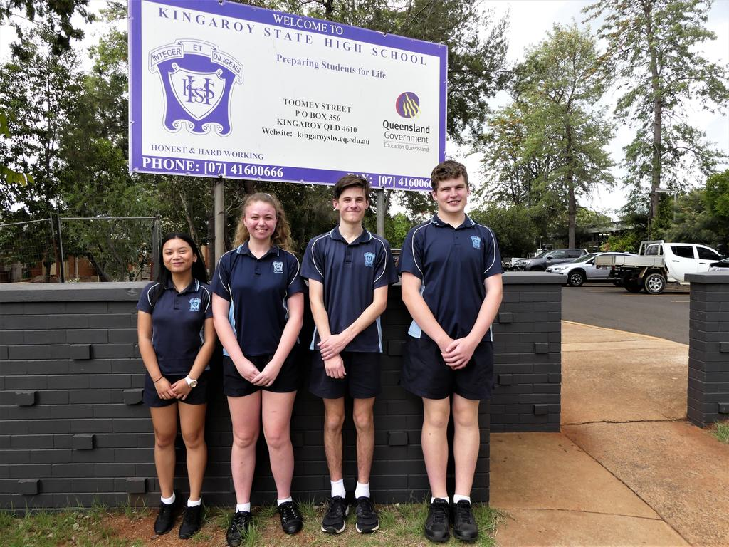 Kingaroy's 2021 School and Vice Captains Juliana Evangelista, Abbie Moseling, Isaac Kelly, and Joey Reeve (left to right). Photo/Holly Cormack.