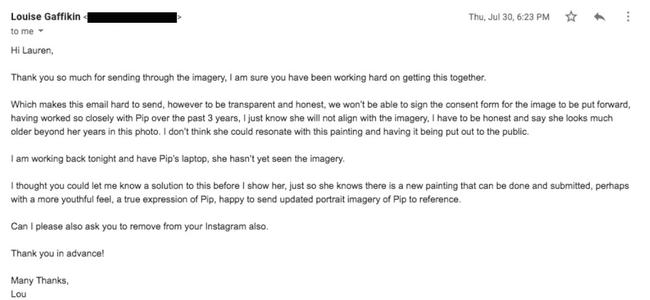 The email Ferrier received from Ms Edwards' public relations manager.