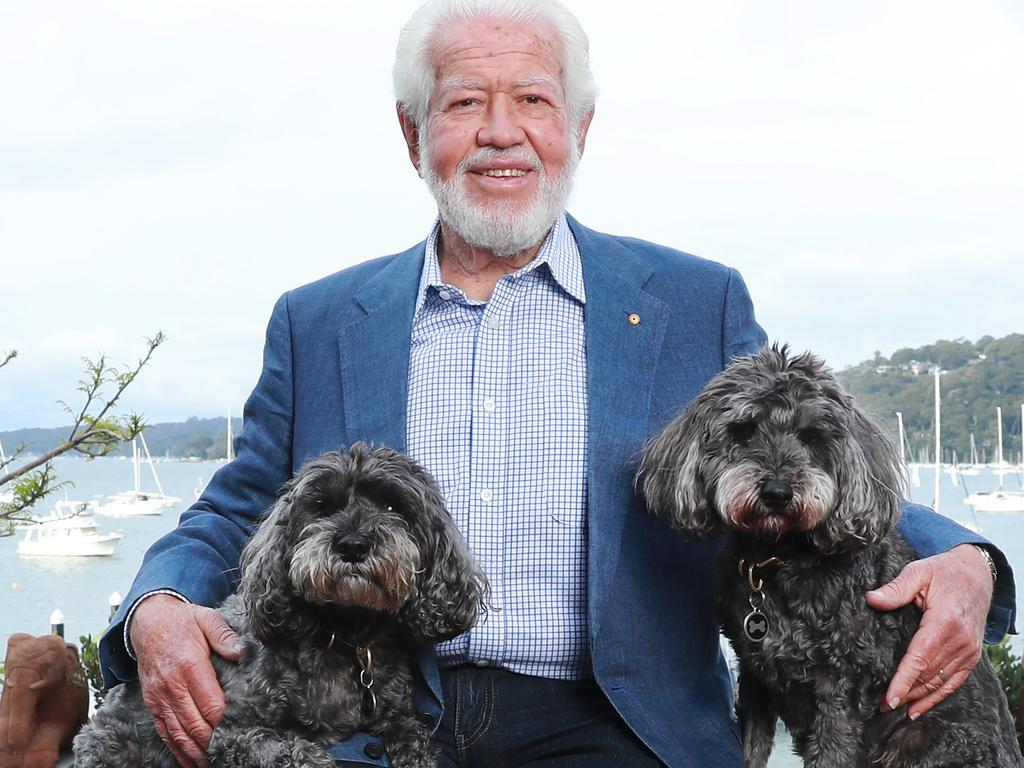 Executive Director of Blackmores Ltd Marcus Blackmore and his dogs Spikey and Rocky at his home at Bayview. Picture: John Feder/The Australian.