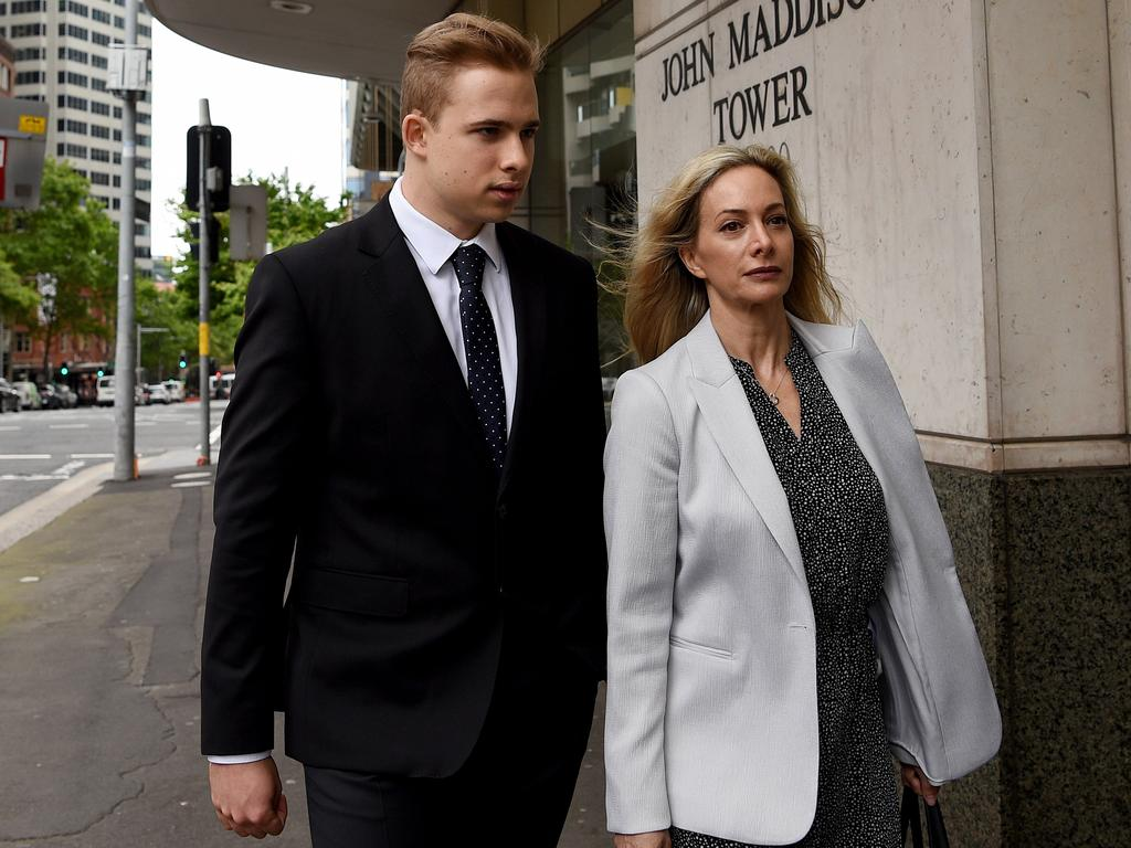 Kyle Daniels, pictured with his mother, 'absolutely and totally denies' allegations he indecently touched young girls as he taught them swimming, his barrister told a jury. Picture: NCA NewsWire/Bianca De Marchi