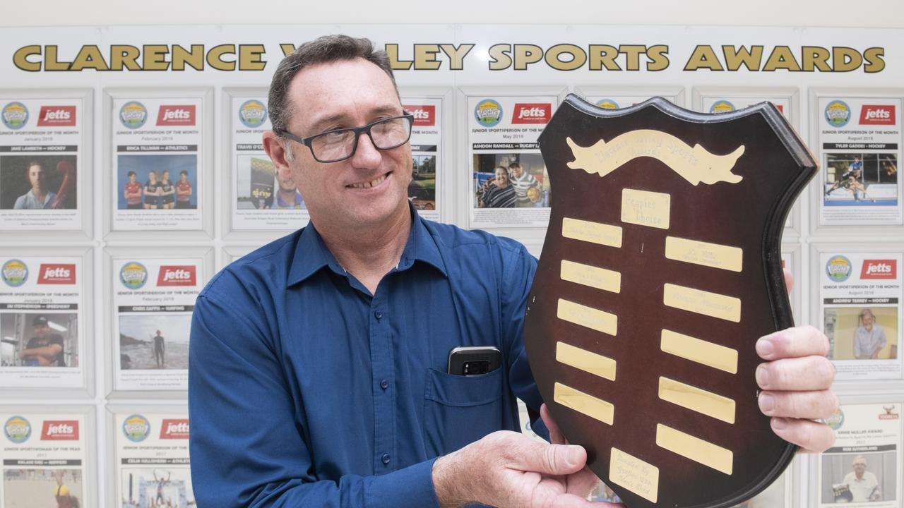 Grafton Shoppingworld centre manager Brendon Wilson with the Grafton Shoppingworld People's Choice award to be presented at Clarence Valley Sports Awards.
