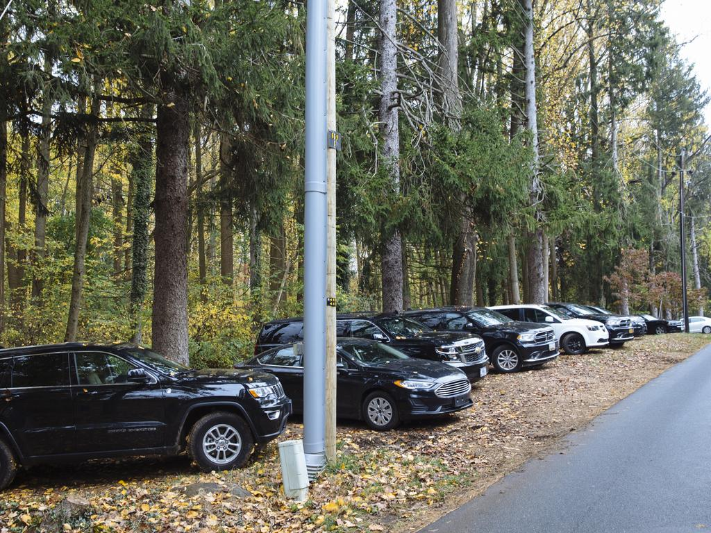 Secret Service vehicles sit parked outside Joe Biden's home in the Greenville Neighbourhood of Wilmington, Delaware. Picture: Angus Mordant