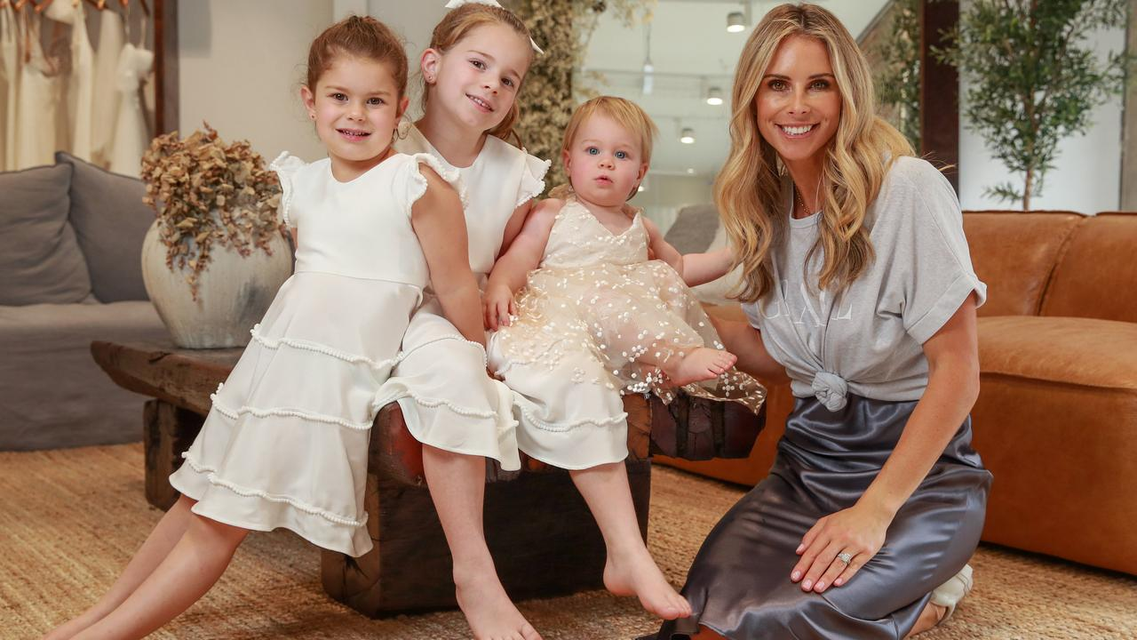 Candice Warner with her daughters Indi, 4, Ivy, 6, and Isla, 16 months. Picture:Justin Lloyd