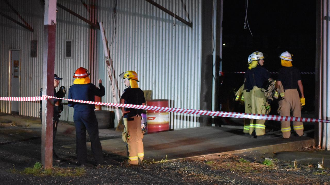 Firefighters and police assess the scene of a building collapse along River Street in Mackay CBD. Picture: Rae Wilson