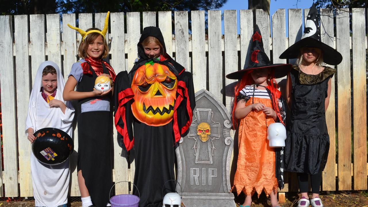 HALLOWEEN FUN: Sam Lake, Amahli Morrison, Tahlia Rowe, Abby Bevan and Eden Dinsdale - excited for Halloween last year, 2019. Pic: Alana Calvert