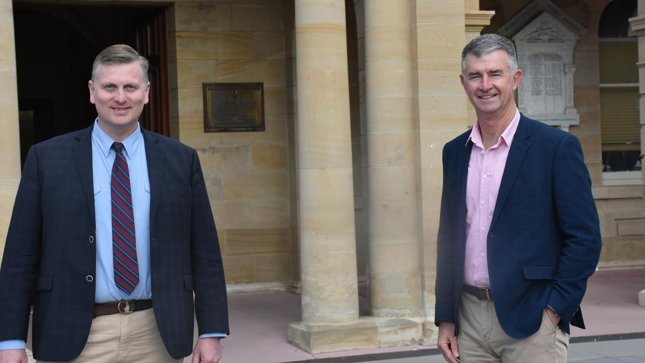 Incumbent Member for Southern Downs James Lister with LNP Deputy Leader Tim Mander on the campaign trail.