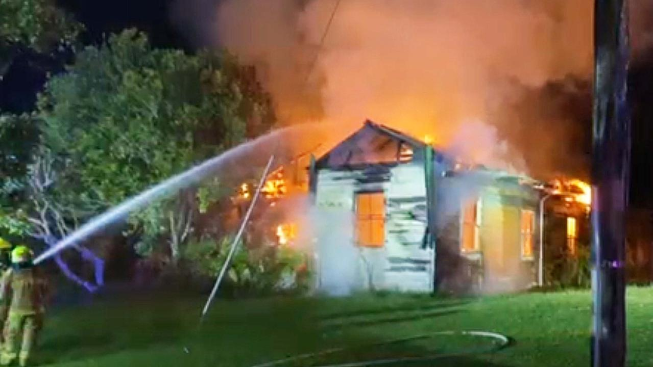 Fire Fighters Battle House Fire During Storm at Macksville.