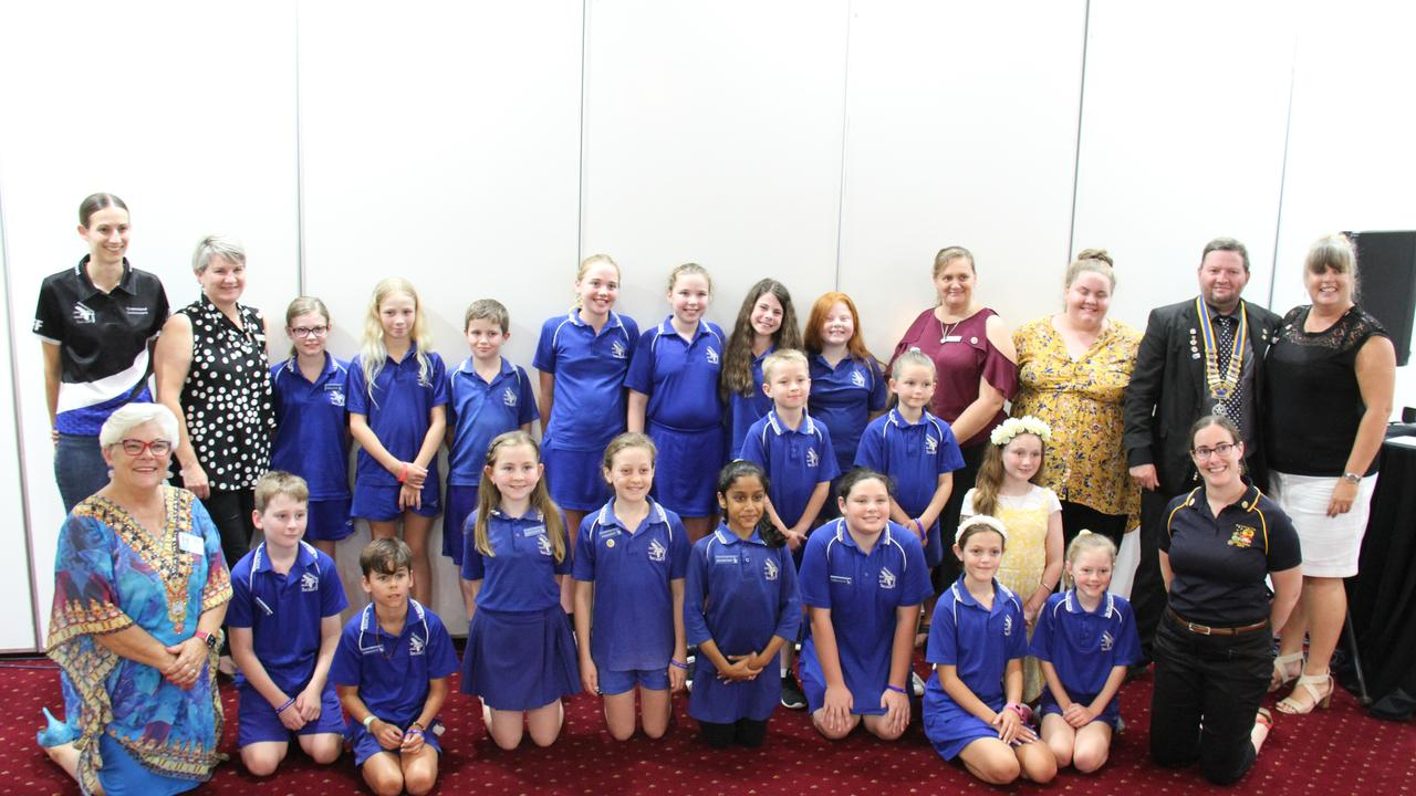 Rotary District 9570 Governor Adele Hughes, Rotary Club of Port Curtis President Roy Johnson and Director of Next Generation Christina Rassmussen with Gladstone West State School RotaKids members and teachers. Picture: Rodney Stevens