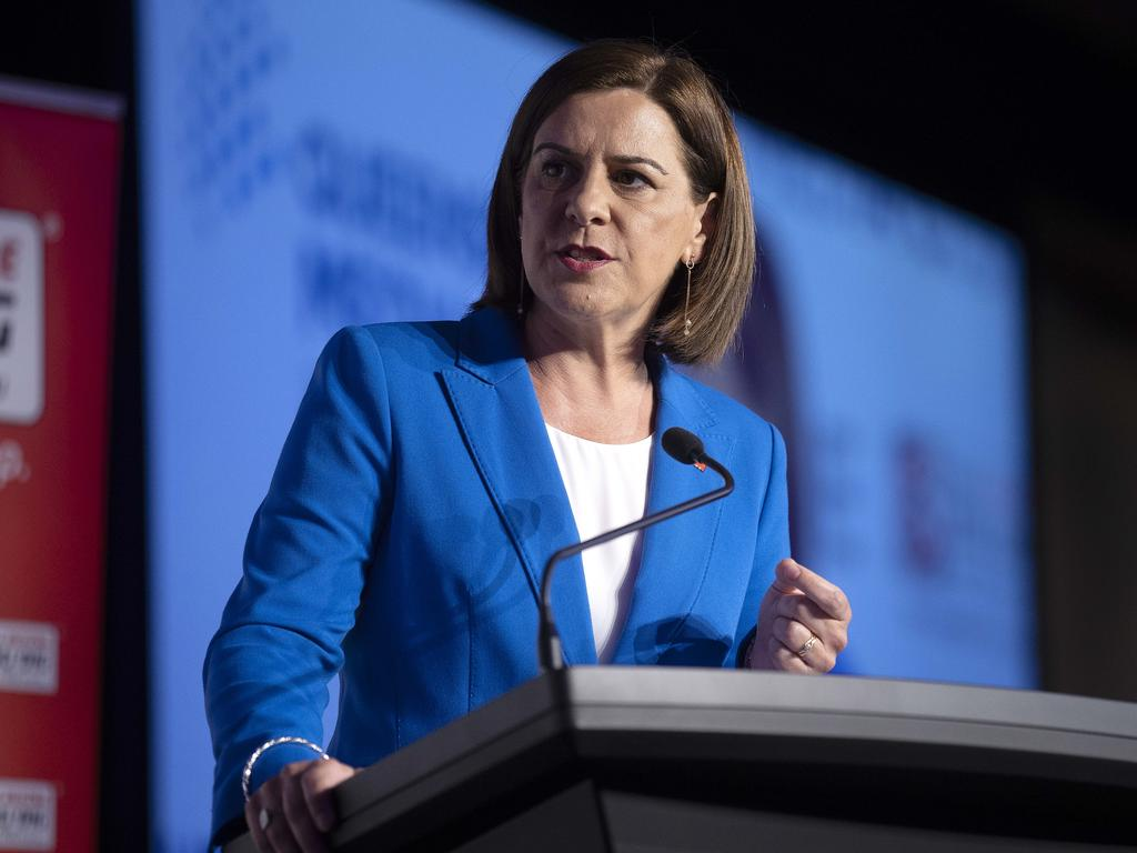 Opposition Leader Deb Frecklington during Friday's debate. Picture: Sarah Marshall/NCA NewsWire