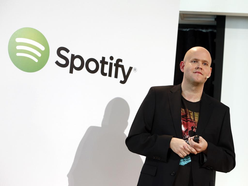 Spotify founder and chief executive Daniel Eck announces free music streaming to mobile phones and tablets. Picture: Jason DeCrow/Spotify
