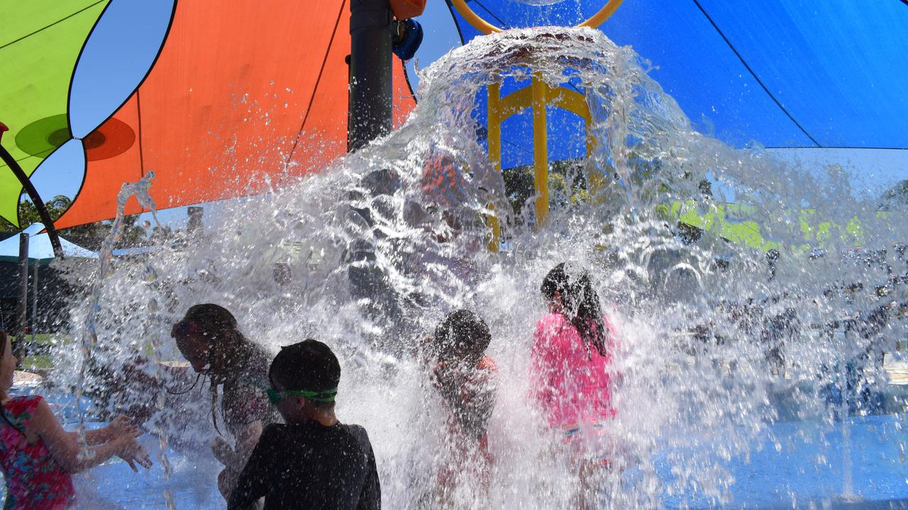 The giant bucket splashed down water on Mackay children at the opening of the new interactive play area at the Bluewater Lagoon, on Friday October 30. Picture: Zizi Averill