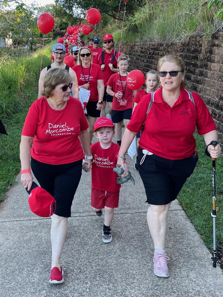 Denise Morcombe joined by her grandson Winston on the 16th annual Walk for Daniel in honour of Sunshine Coast teenager Daniel Morcombe.