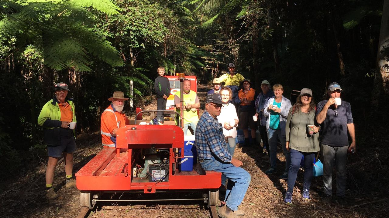 Members of Glenreagh Mountain Railway are hacking through jungle in the Orara Valley in the efforts to get a rail trail off the ground.