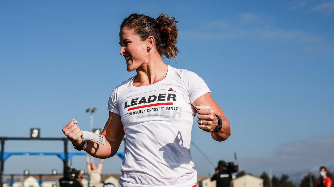 Former Crossfit Gladstone owner Tia-Clare Toomey proudly wears the leaders white shirt during the Reebok 2020 Crossfit Games. Picture: Crossfit Games Facebook