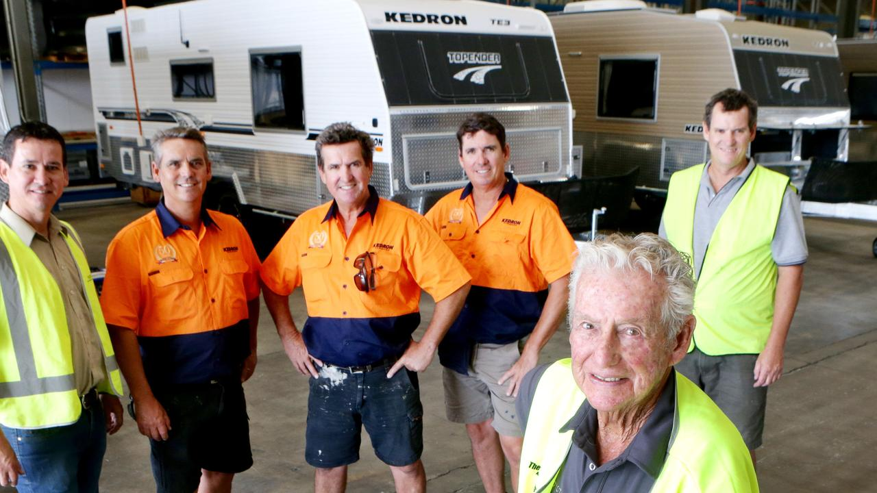 Barry Gall (front) and his sons L to R, Glen, Peter, David, Ashley, Craig Gall, who are caravan industry veterans for the past 50 years. Galls are makers of Kedron Caravans and