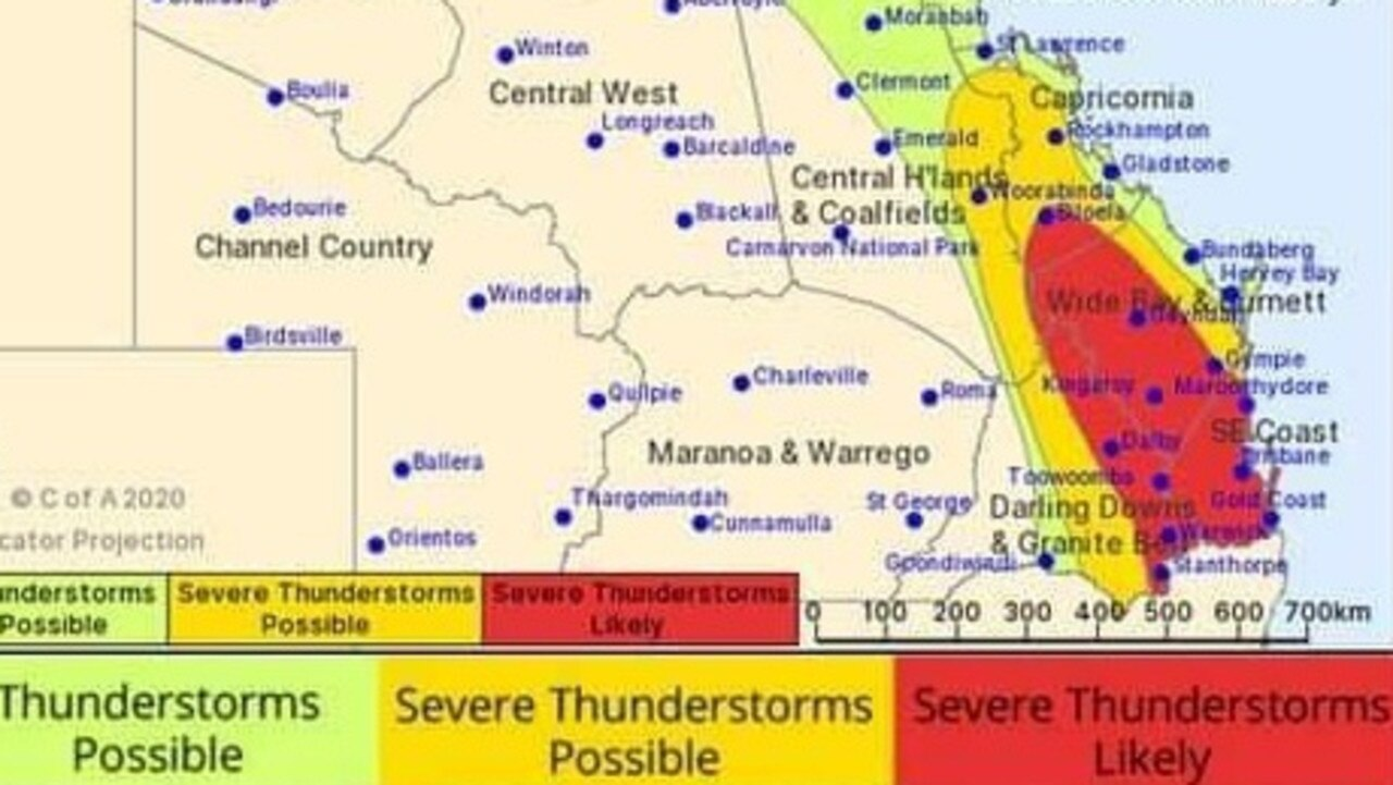 The BoM is warning that the Gympie region is