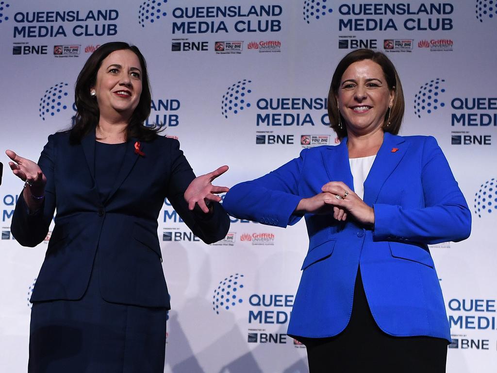 Premier Annastacia Palaszczuk (left) and Opposition Leader Deb Frecklington at Friday's Queensland Media Club debate. Picture: Dan Peled/NCA NewsWire