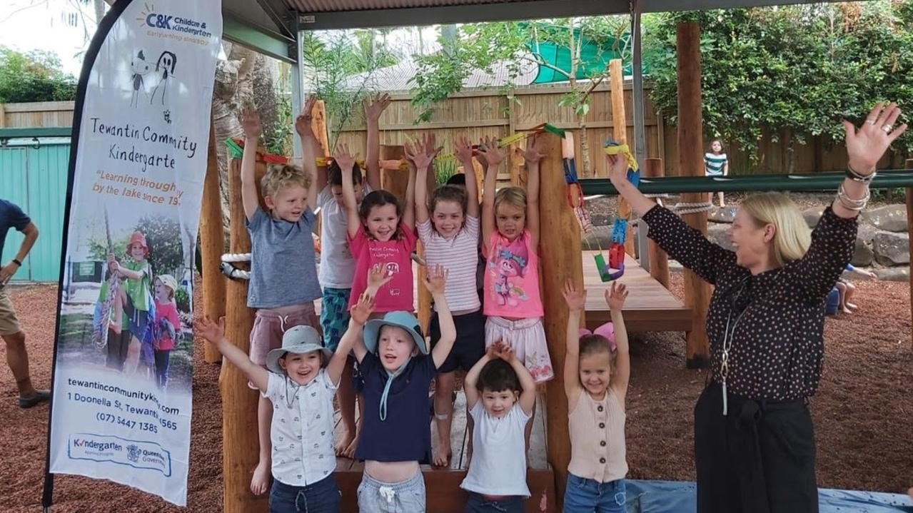 Noosa MP Sandy Bolton celebrates the opening of a new playground area at Tewantin Community Kindergarten.