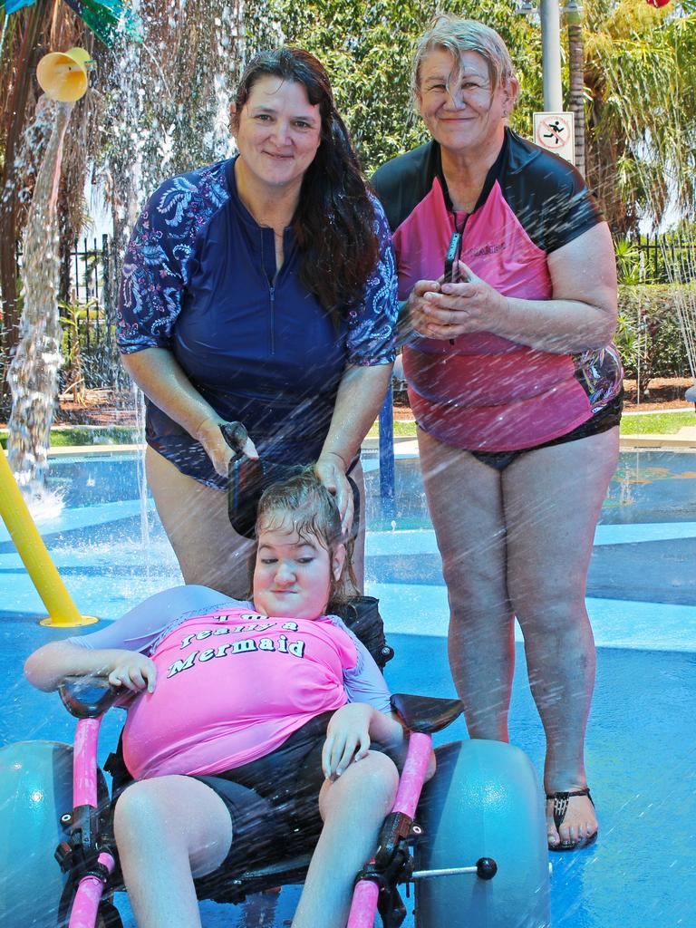 Karlia Craig and her family enjoying the new all-abilities play equipment at the Bluewater Lagoon on Friday October 30.
