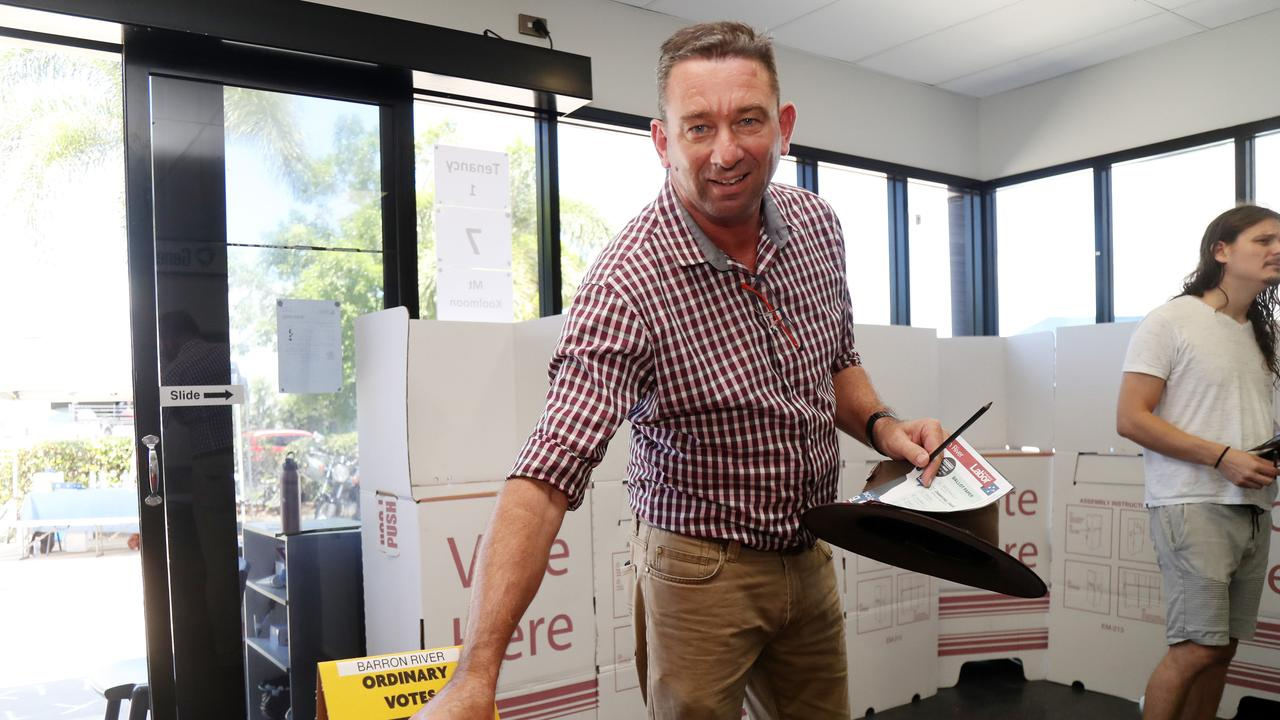 Member for Barron River Craig Crawford voting at the Smithfield polling booth. Picture: Stewart McLean