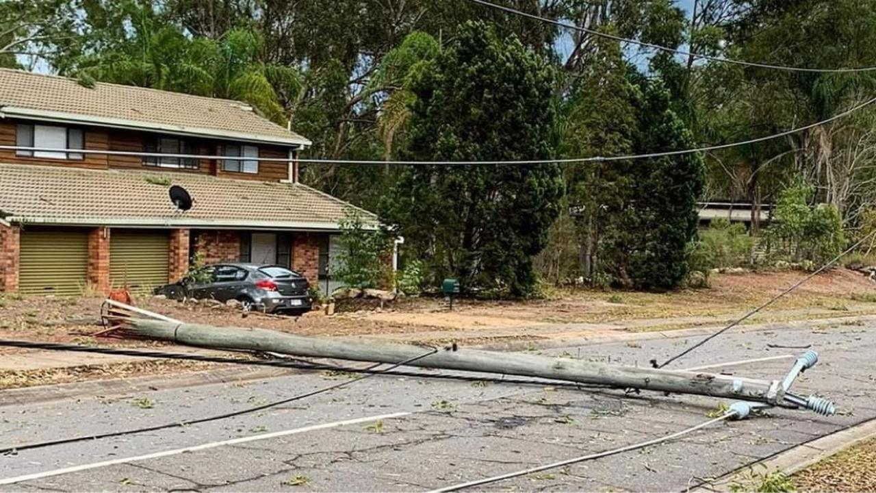A power pole was snapped off at the base during severe storms that hit Ipswich on Sunday afternoon. This damage was seen at Baaring Dve, Karana Downs.