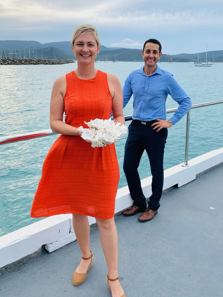 Whitsunday LNP candidate Amanda Camm and shadow minister for environment and tourism David Crisafulli announced a $2.8 million commitment to deliver a reef restoration coral gardening project. Picture: Supplied